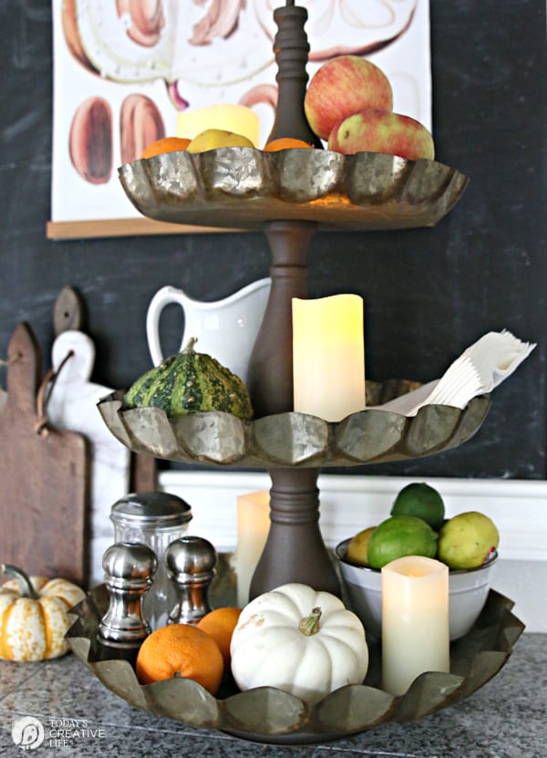 3 tiered stacking metal tray decorated for Fall