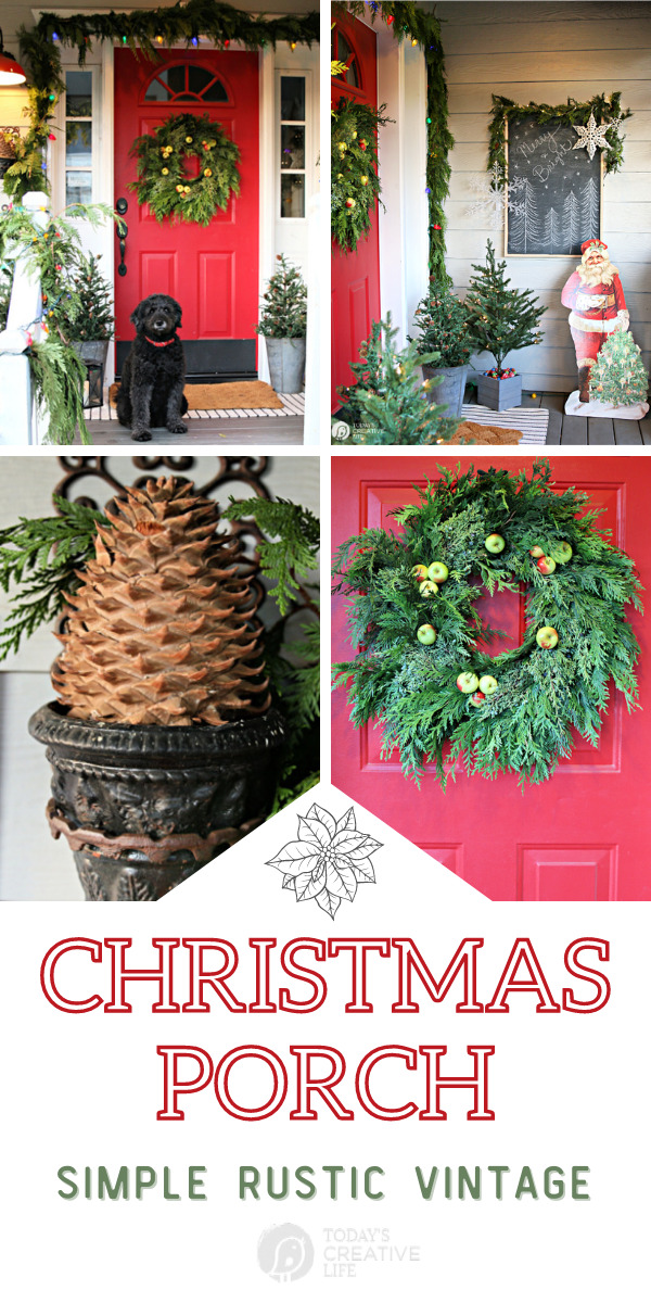 photo collage of holiday Christmas porch decorating ideas.
