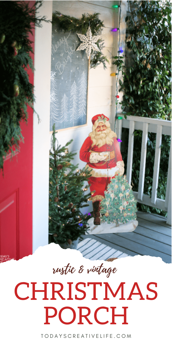 Porch Decorating ideas for Christmas | Photo collage of a decorated Christmas porch with a vintage santa