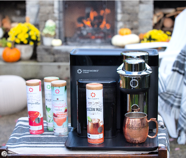 outdoor fireplace with drinkworks machine set up