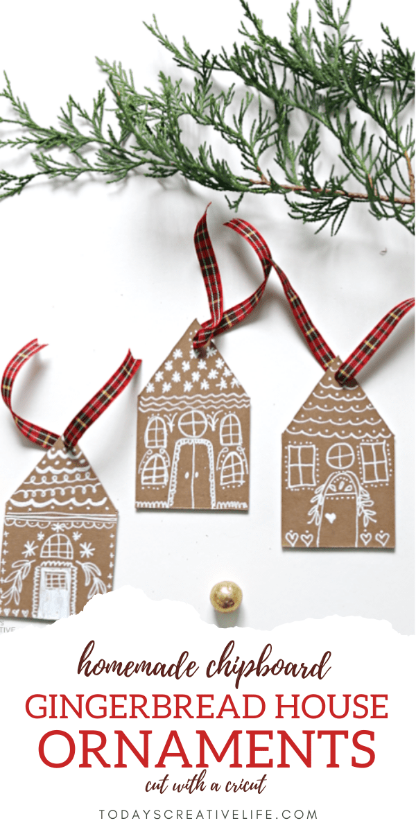 Photo collage of how to make gingerbread house cardboard ornaments