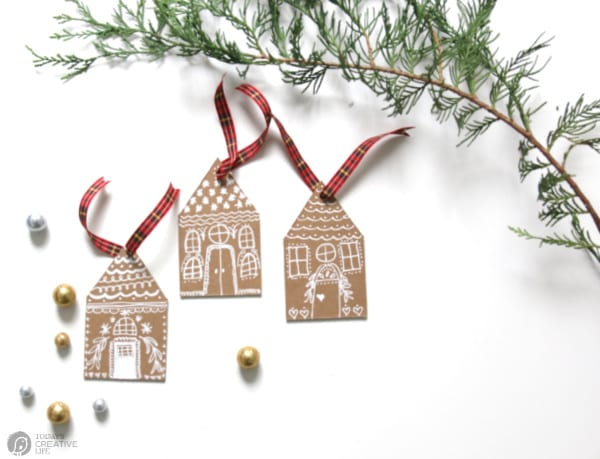 DIY Christmas Ornaments that look like Gingerbread Houses.