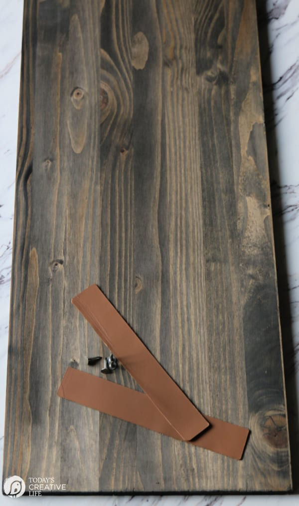 DIY Wood Tray Board with leather strips for handles