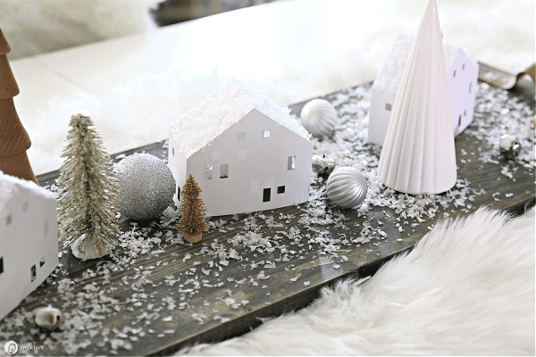 DIY Paper House set in a table centerpiece