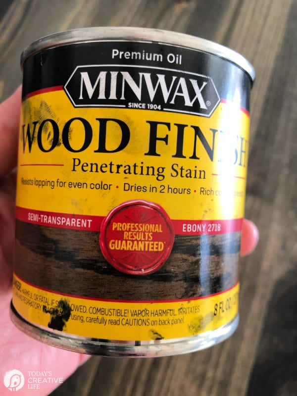 can of MinWax Wood Finish in ebony