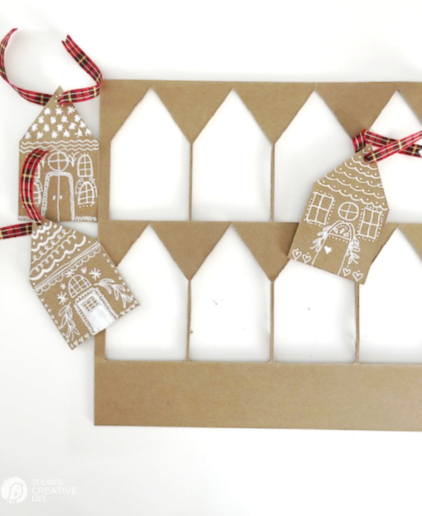 Gingerbread house DIY Christmas Ornaments cut out of chipboard