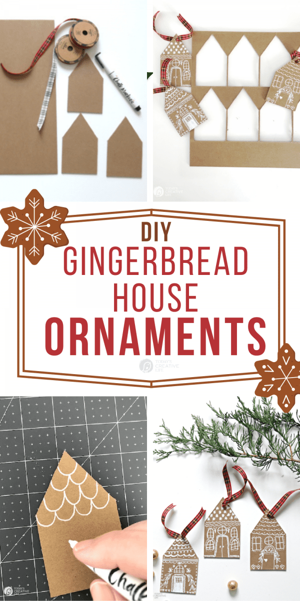 Photo Collage of DIY Christmas Ornaments that look like gingerbread house cutouts.