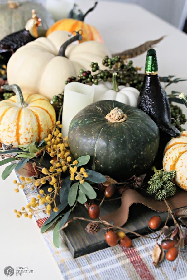 Thanksgiving Table Centerpiece with pumpkins