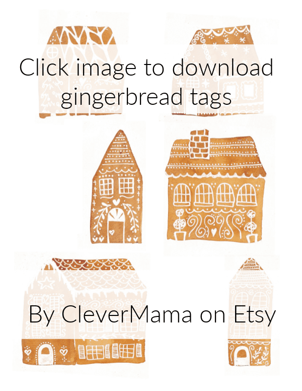 sheet of gingerbread house gift tags