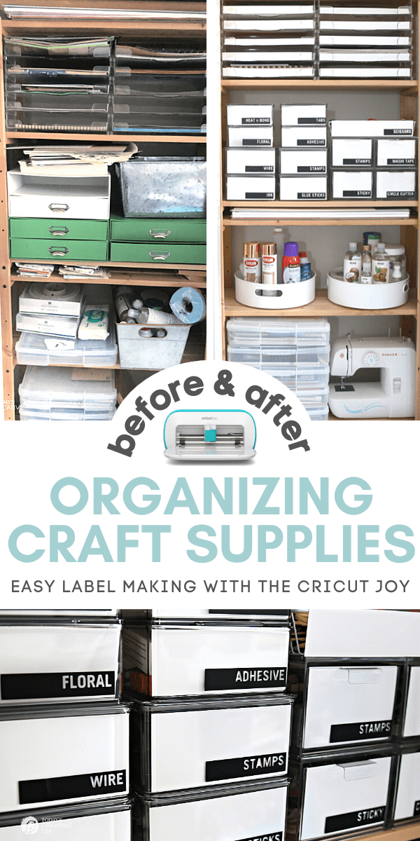 Craft Room Organization photo collage for organizing craft supplies using labels