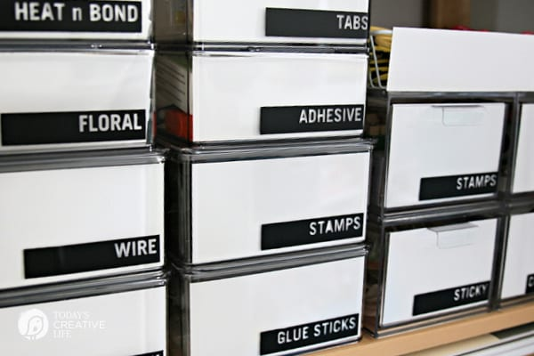 Labeled containers for organizing