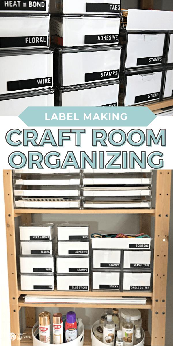 Craft Room Organization photo collage of organized craft supplies