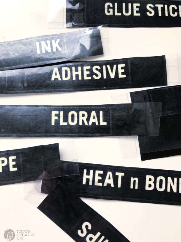 Craft Room Organization Black labels made with a vinyl cutting machine.