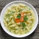 a bowl of homemade chicken noodle soup.