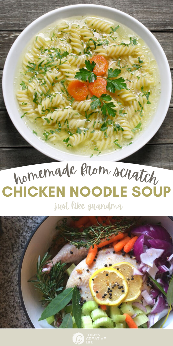 Homemade chicken noodle soup photo collage. A bowl of chicken soup with rotinti noodles.