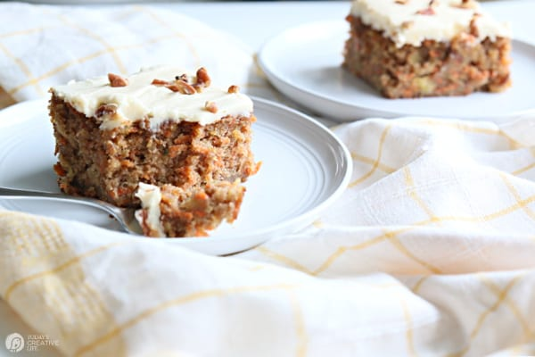 Carrot Cake Recipe with cream cheese buttercream frosting.