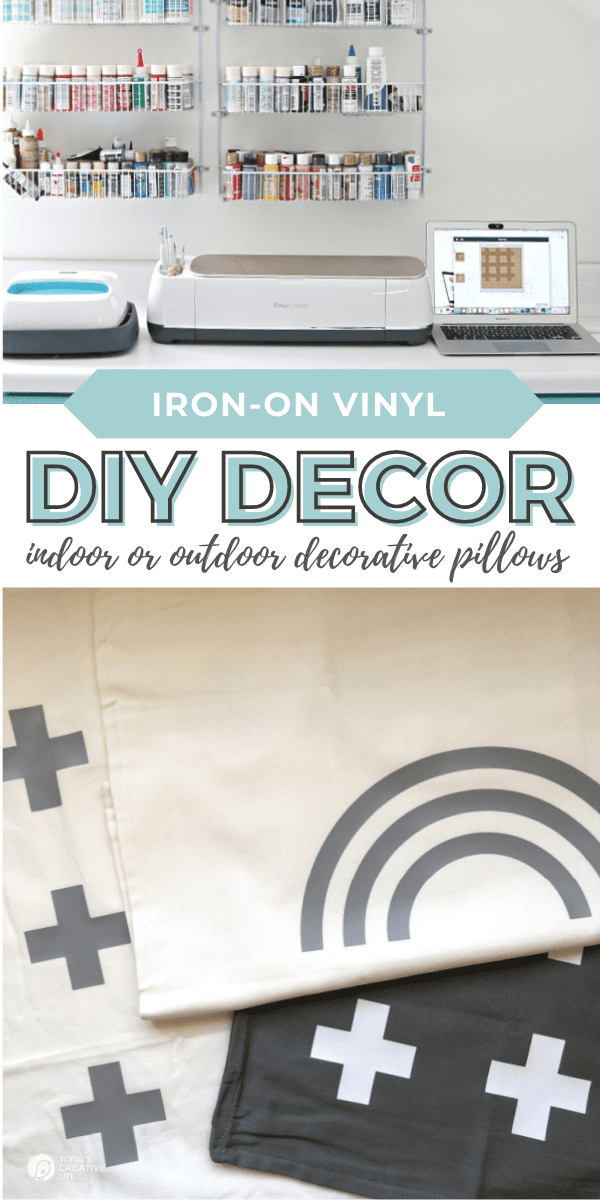 DIY Patio Ideas on a Budget with Cricut Maker Iron-on Vinyl for making pillow covers.