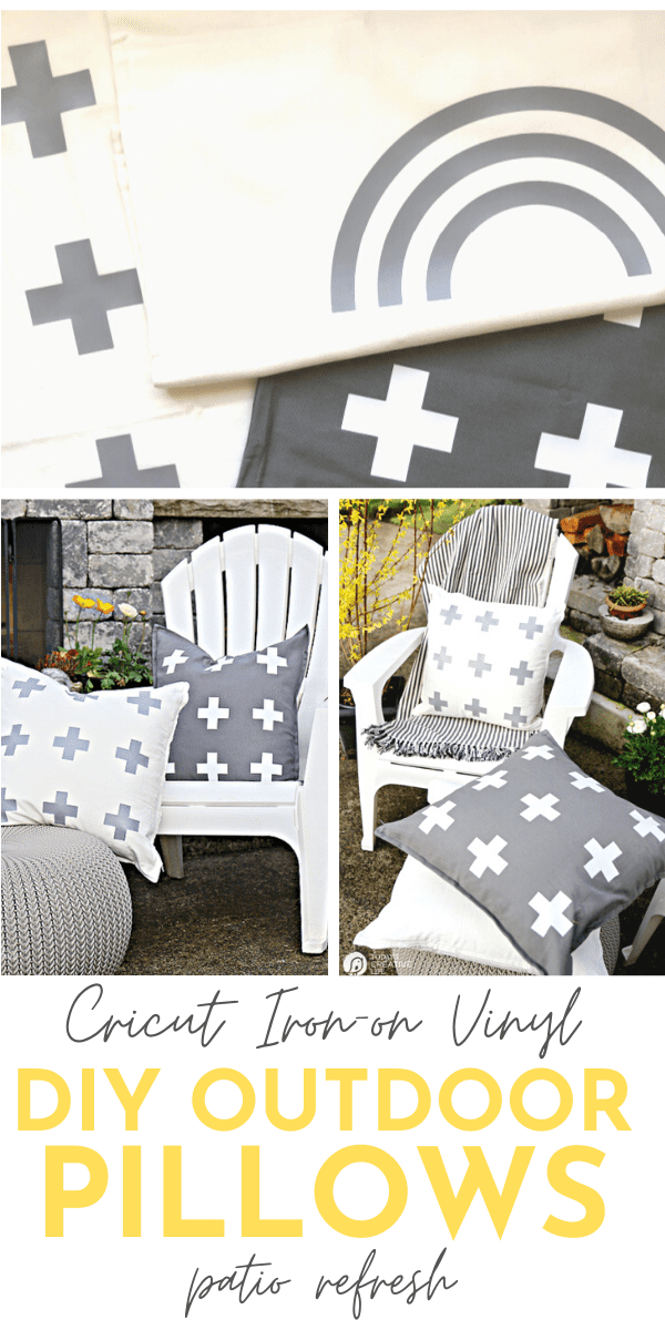 DIY Patio Ideas on a Budget making pillow covers. Pillow covers have a swiss cross or rainbow design.