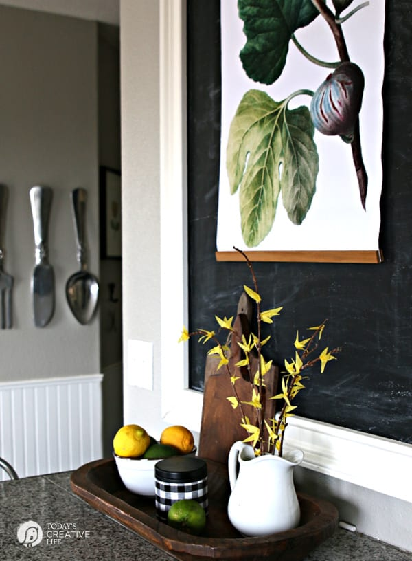 Decorated Kitchen for Spring with DIY Faux Forsythia Branches