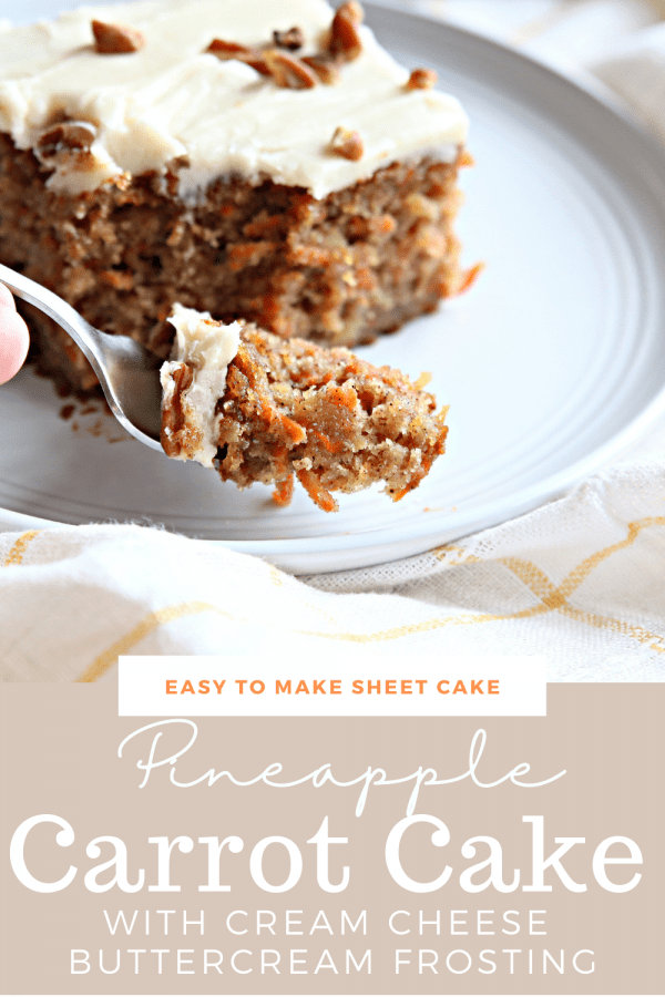 Carrot Cake Recipe with Pineapple Slice served on a white plate.