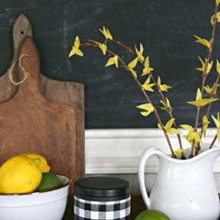 Faux Forsythia Branches in a kitchen setting