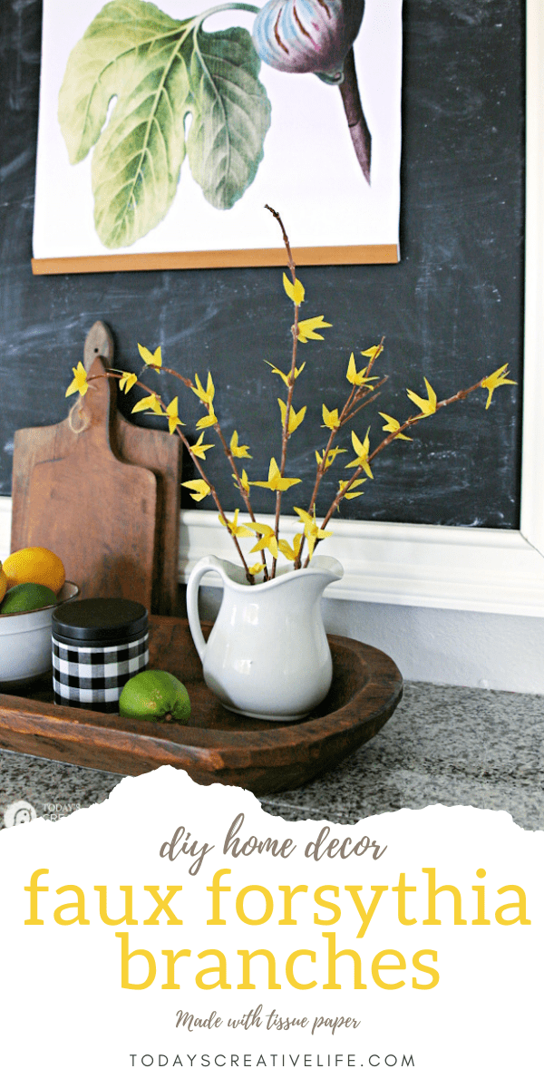 DIY Faux Forsythia Branches with blooms.