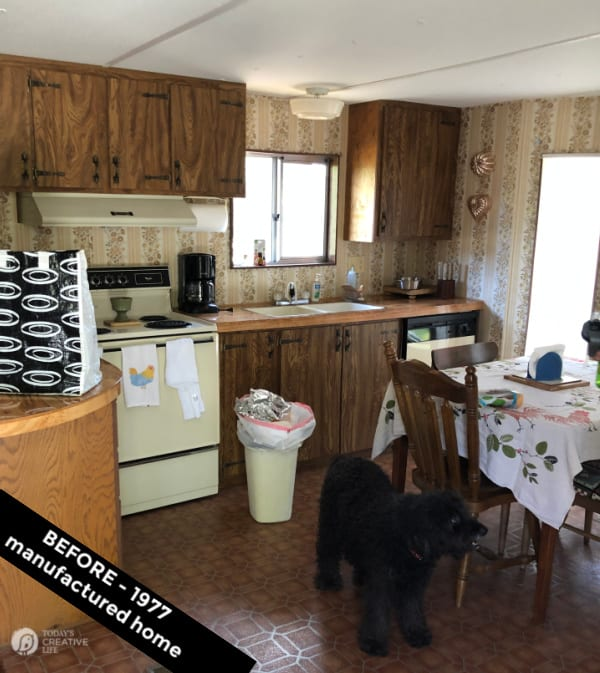 Lake property trailer Before. 1970s decor | DIY for Wall Decor project