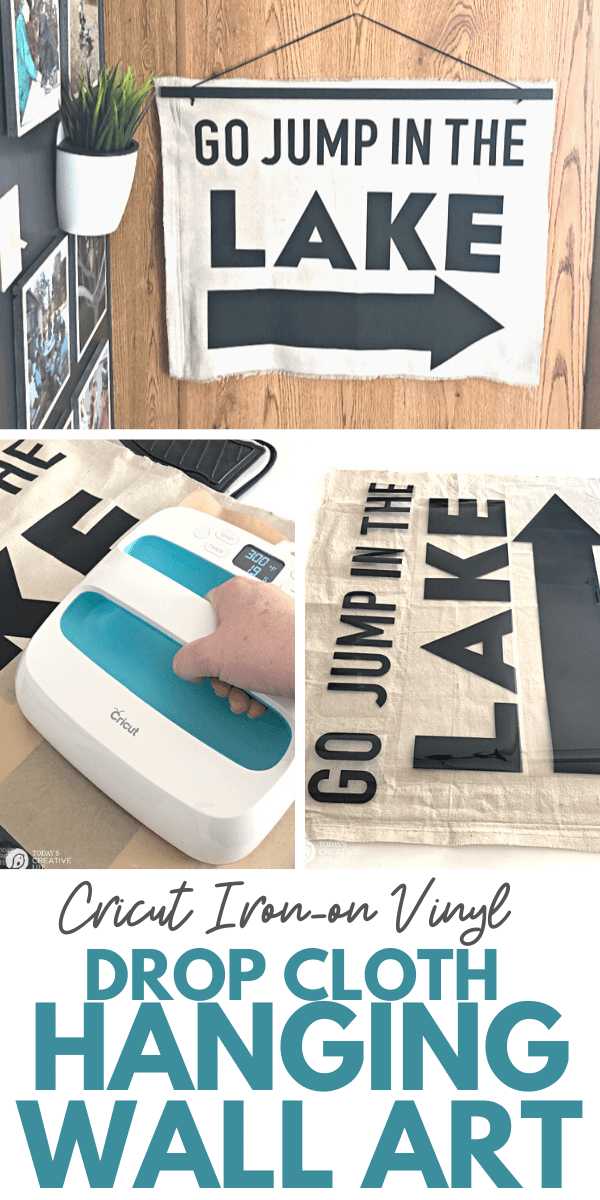 photo collage for Drop Cloth Hanging Wall Art made with Cricut