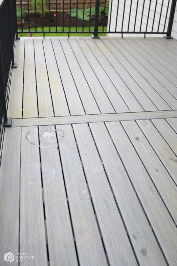 Cleaning a composite Deck | Dirt build up on grey composite decking