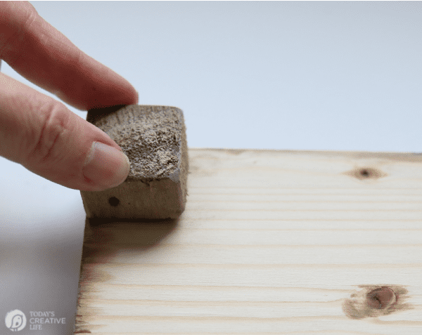 Applying legs to a wood tray