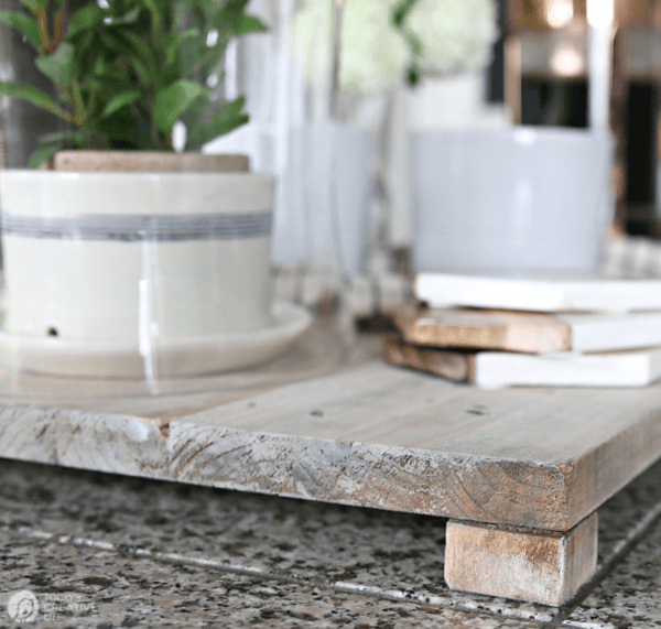 White Washed Wood Tray