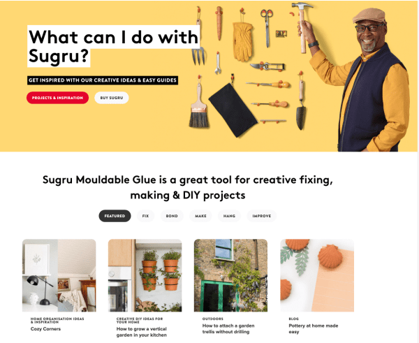 Sugru Website image
