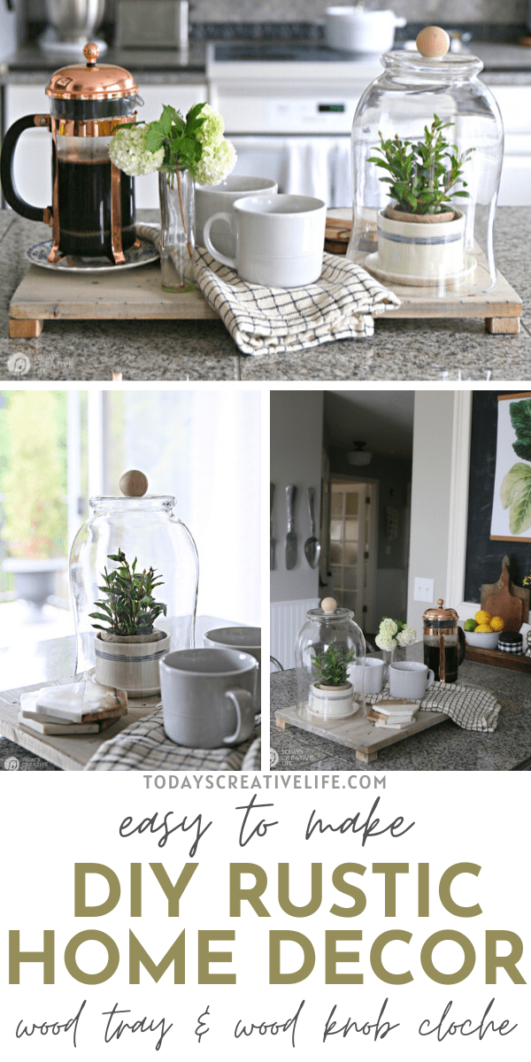 DIY Rustic Decor | Photo Collage of a wood tray with wood feet styled with a cloche and coffee items