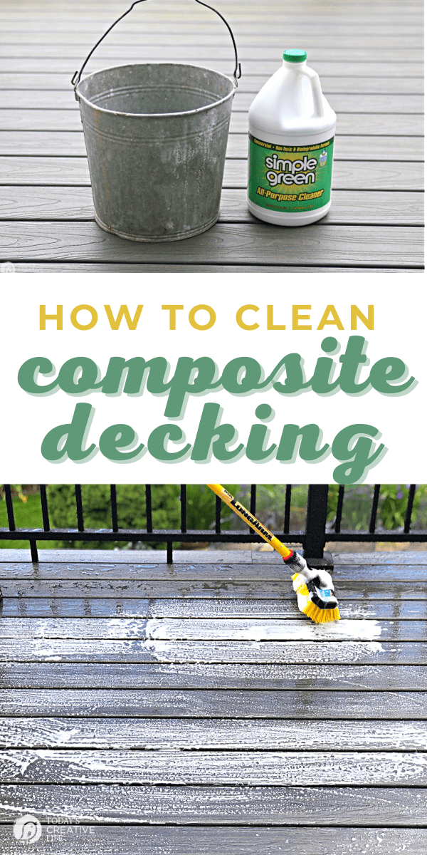 Cleaning a Composite Deck using a mild soap or detergent like Simple Green.