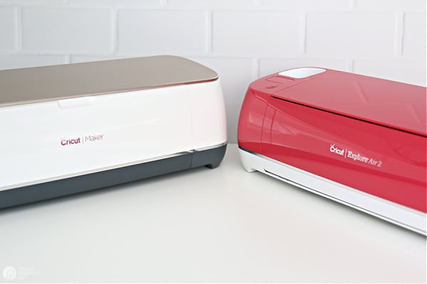 Cricut Maker and Cricut Explore Air 2 side by side.