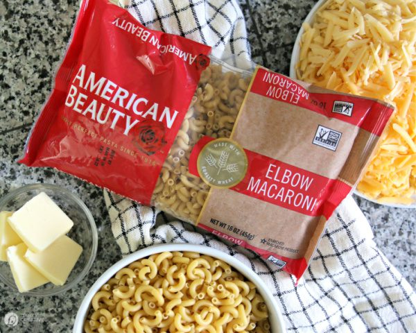 Ingredients for making stovetop mac and cheese