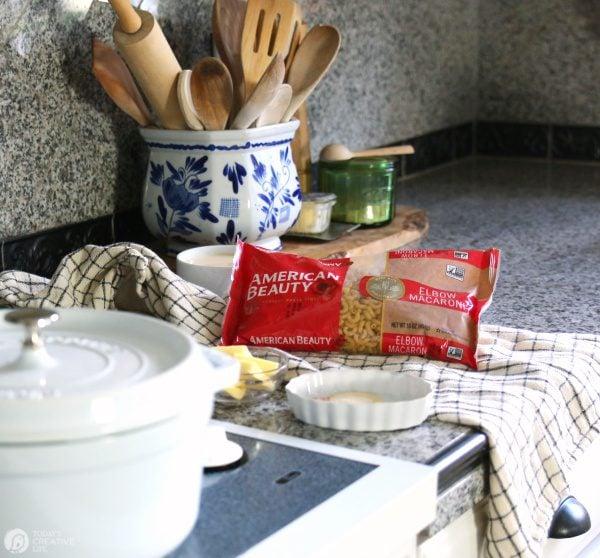 Making creamy homemade mac and cheese.
