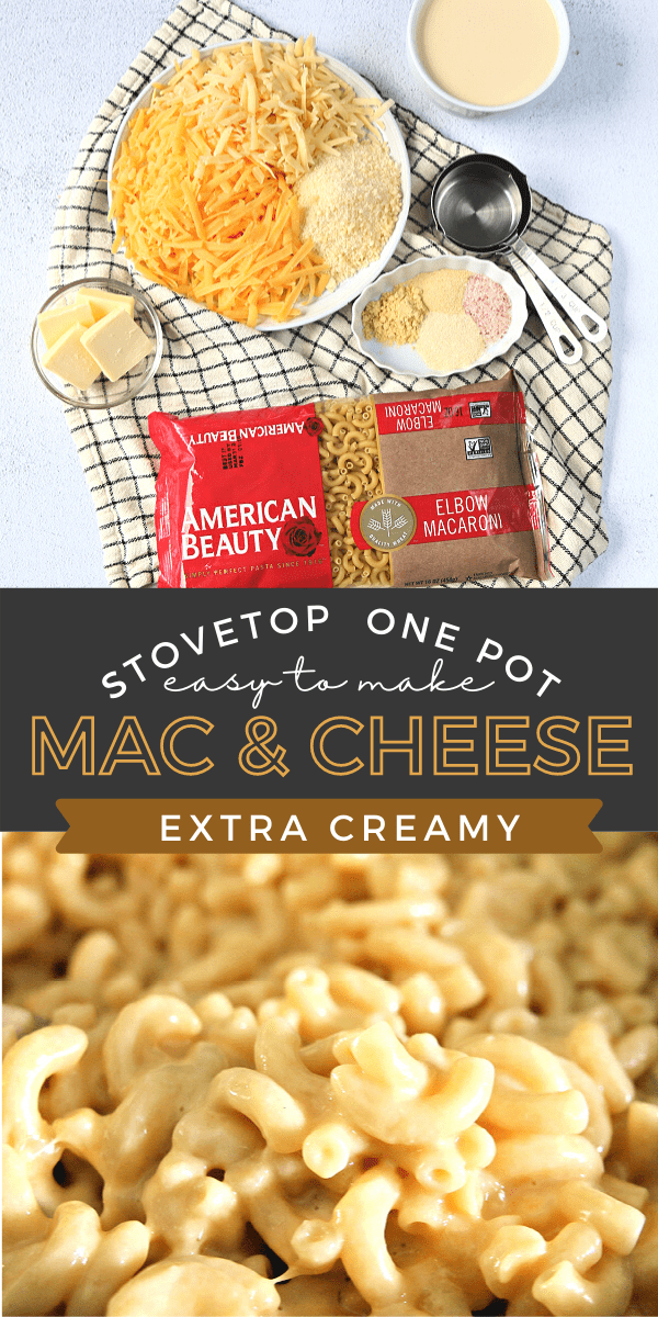 Recipe for Creamy Mac and Cheese with elbow pasta, spices, evaporated milk and 3 kinds of cheese