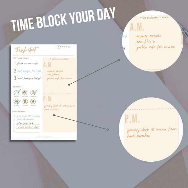 Time blocking tips for organizing your day. Jackpine Jones Planner Notepad