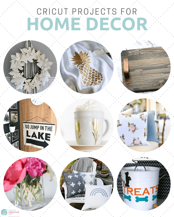 Cricut Projects for Home Decor photo collage in a circle grid
