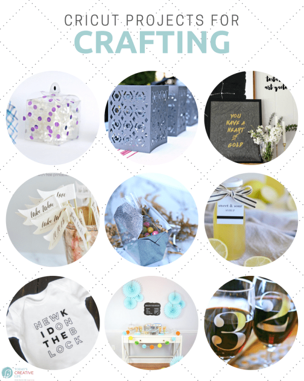 Photo collage of crafts made by a cricut cutting machine