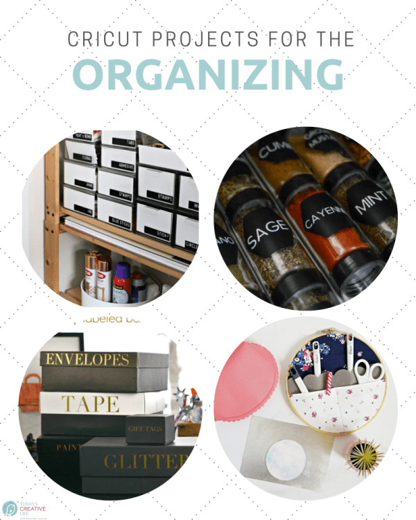 Photo collage of Cricut Organizing Projects